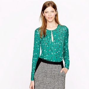 Pleated Silk Blouse Abstract Dot by J.Crew sz 6